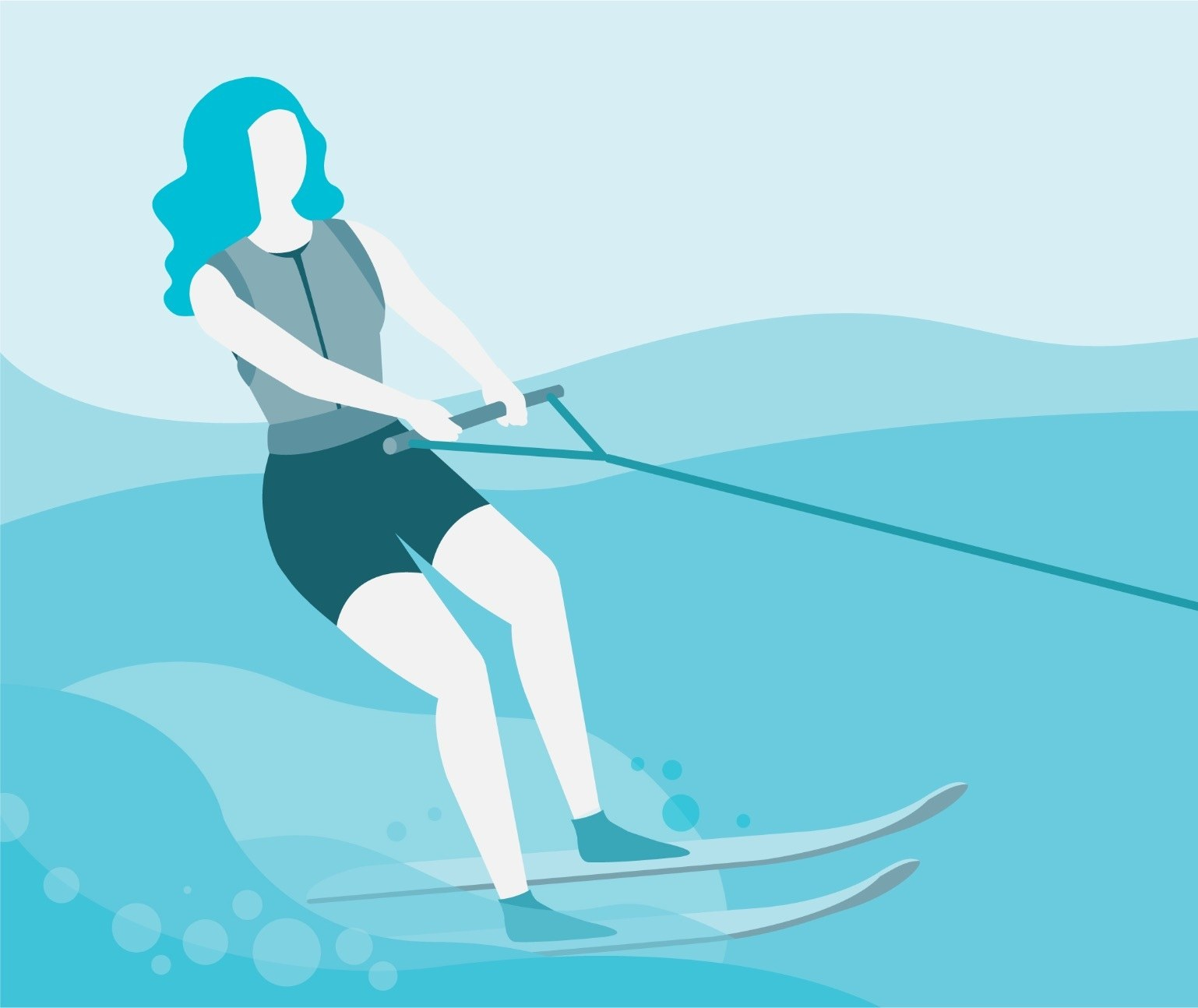 Illustration of a woman water skiing in a monochromatic blue