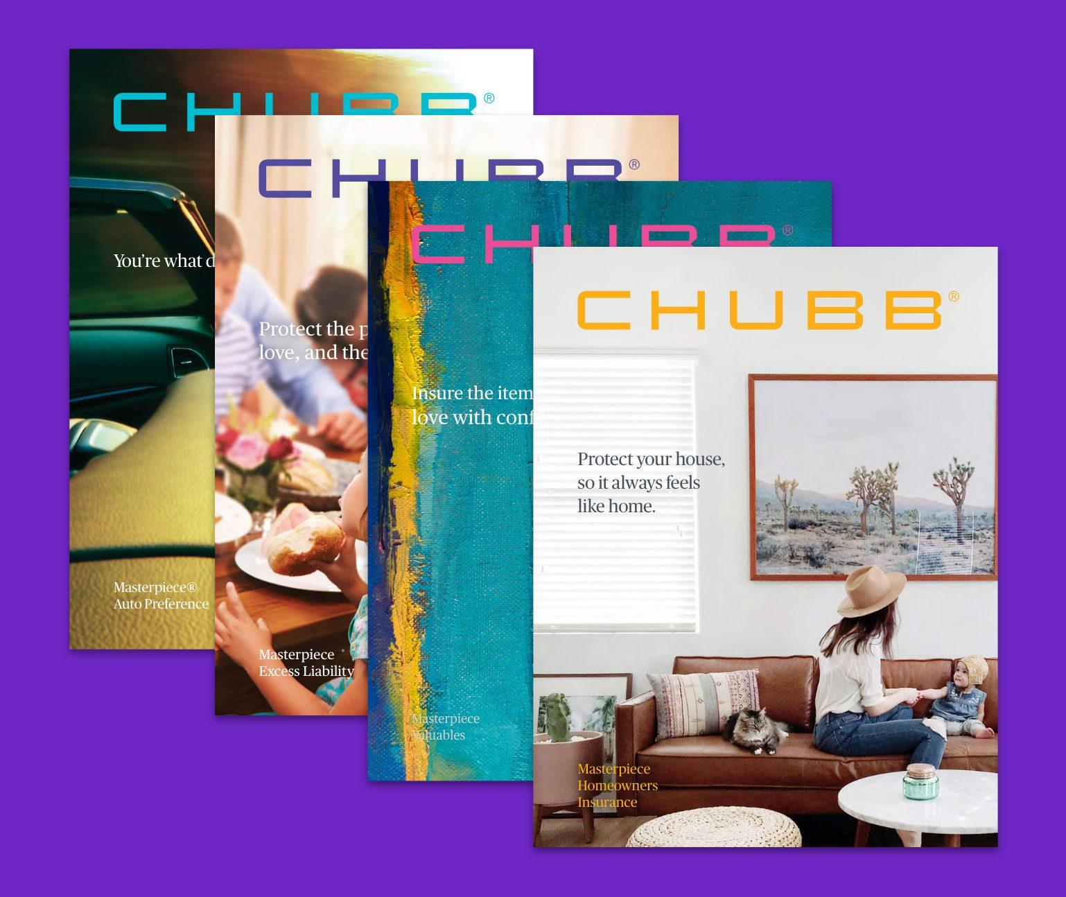 Four brochure cover designs overlapping on a purple background