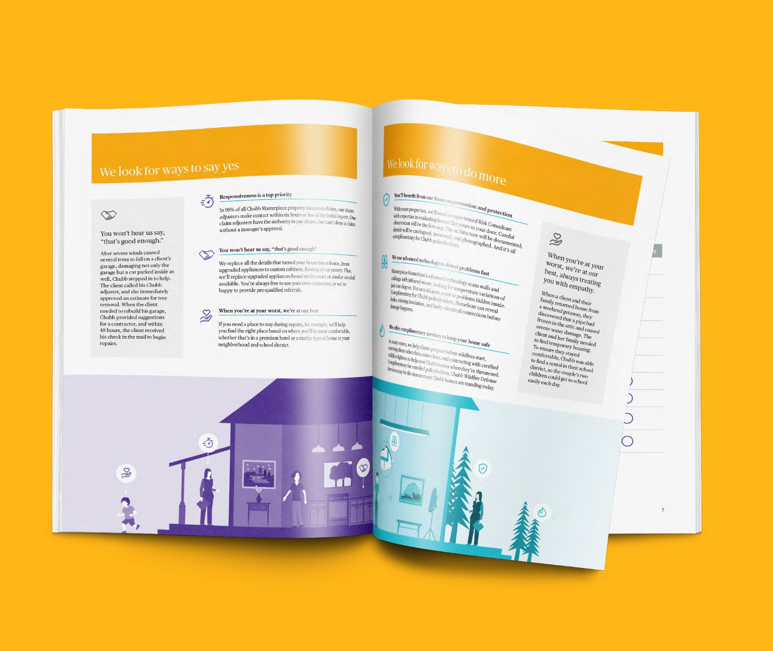Interior spread of flagship brochure design on a yellow background