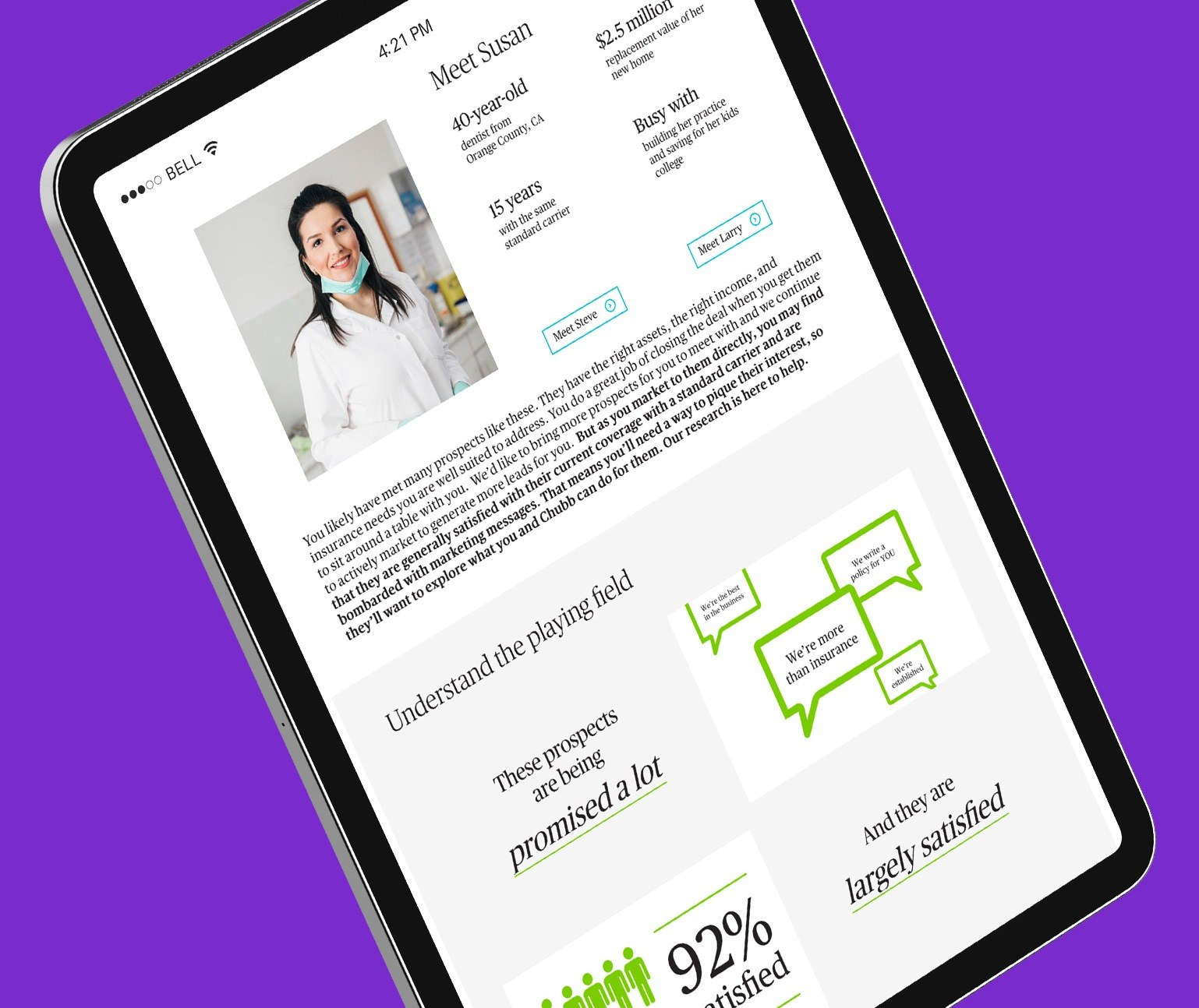 Infographics on a website, shown in a tablet on a purple background.
