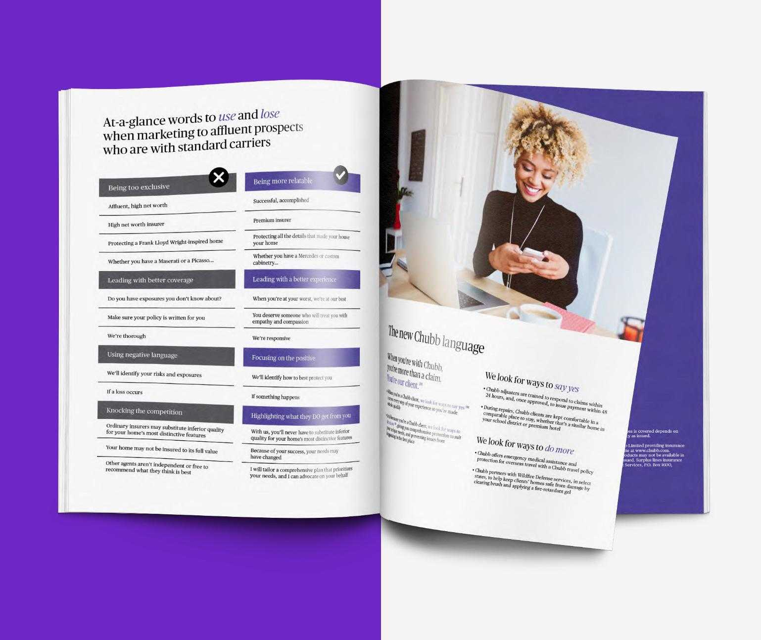Brochure with opened page on half purple background