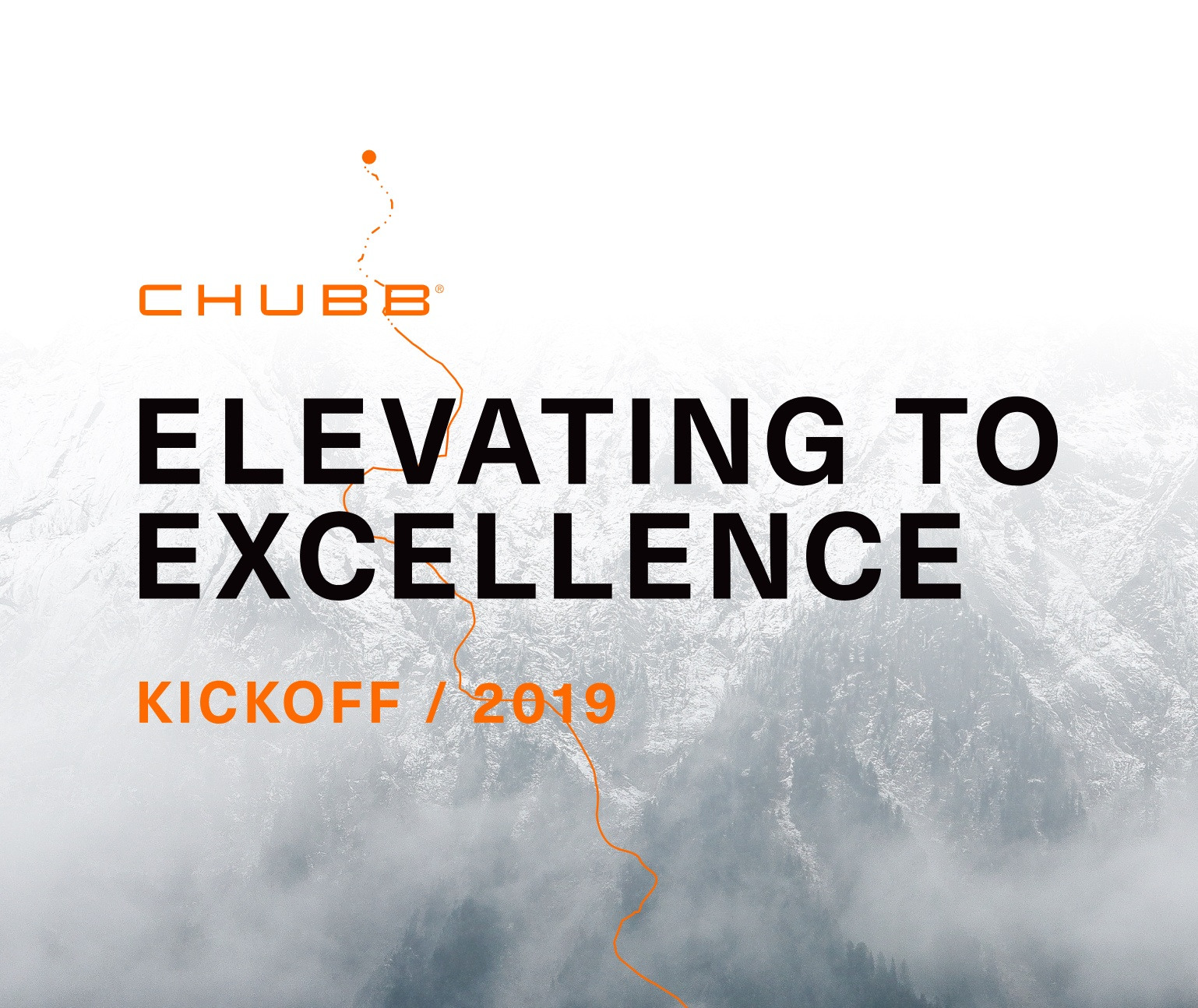 Black and orange type Elevating to Excellence on image of foggy mountain