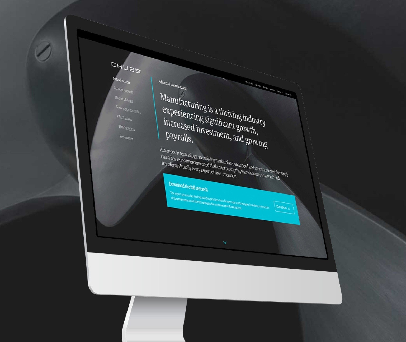 Responsive Website for Chubb shown at an angle on a computer monitor