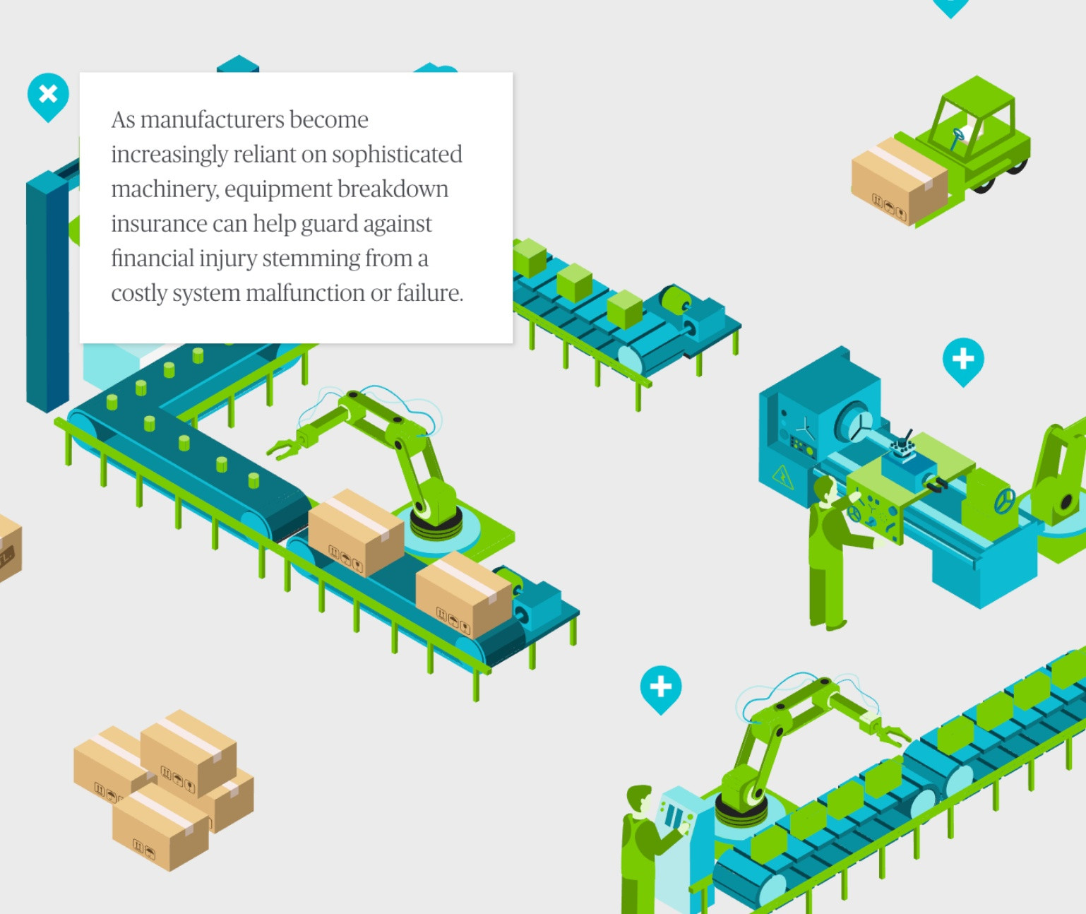 Isometric illustration of a manufacturing line with pop-up information