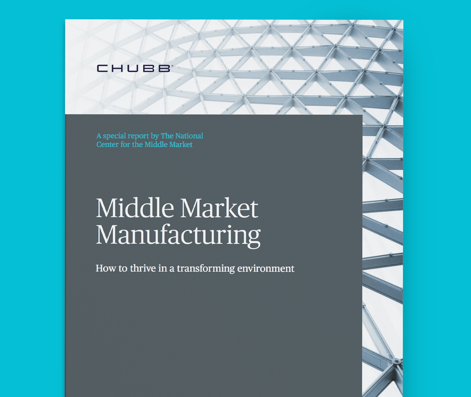 Middle Market Manufacturing Report Cover on a teal background