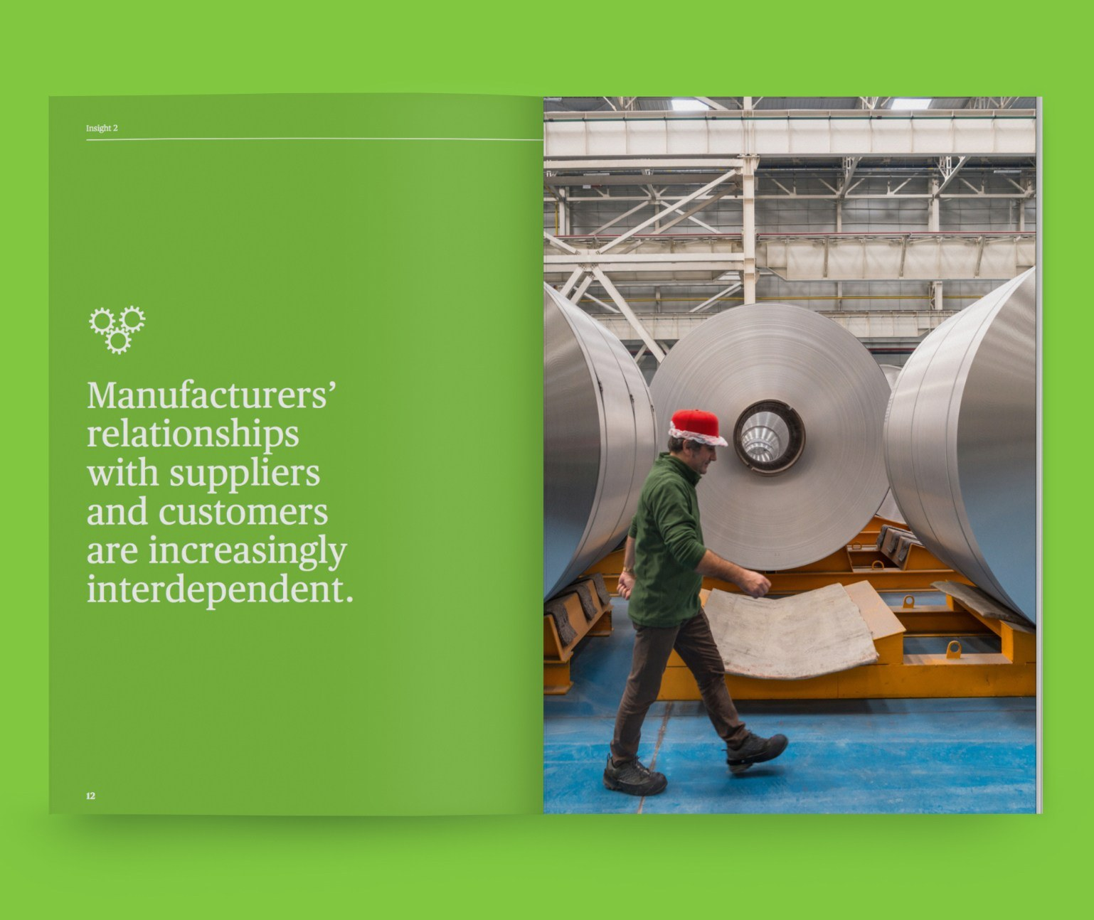 Interior spread of a brochure, with large type and image of manufacturing