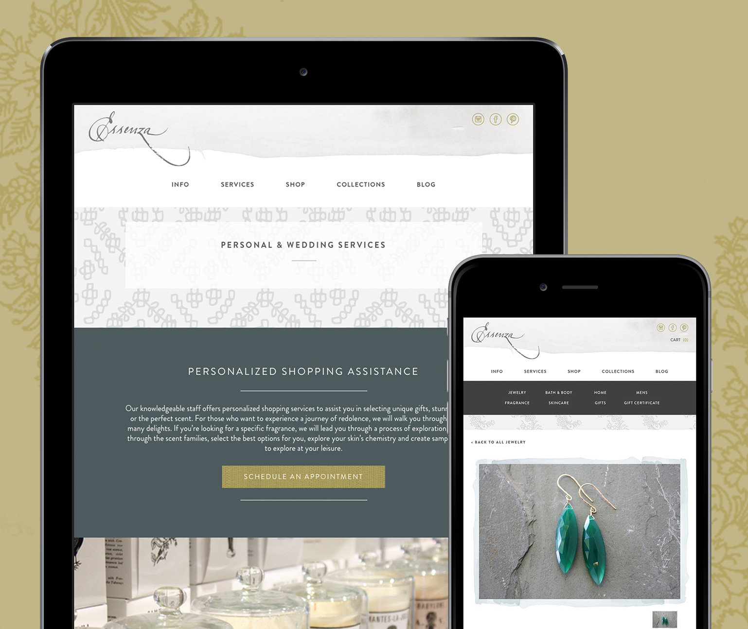 Essenza ecommerce website shown in a tablet and mobile phone