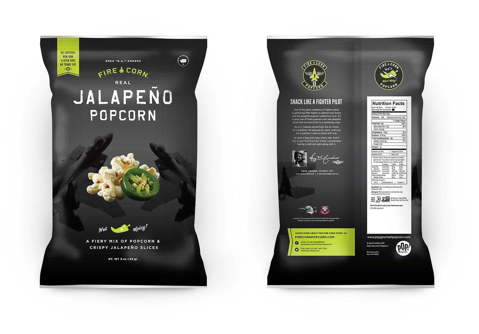 Front and back of CPG bagged popcorn.