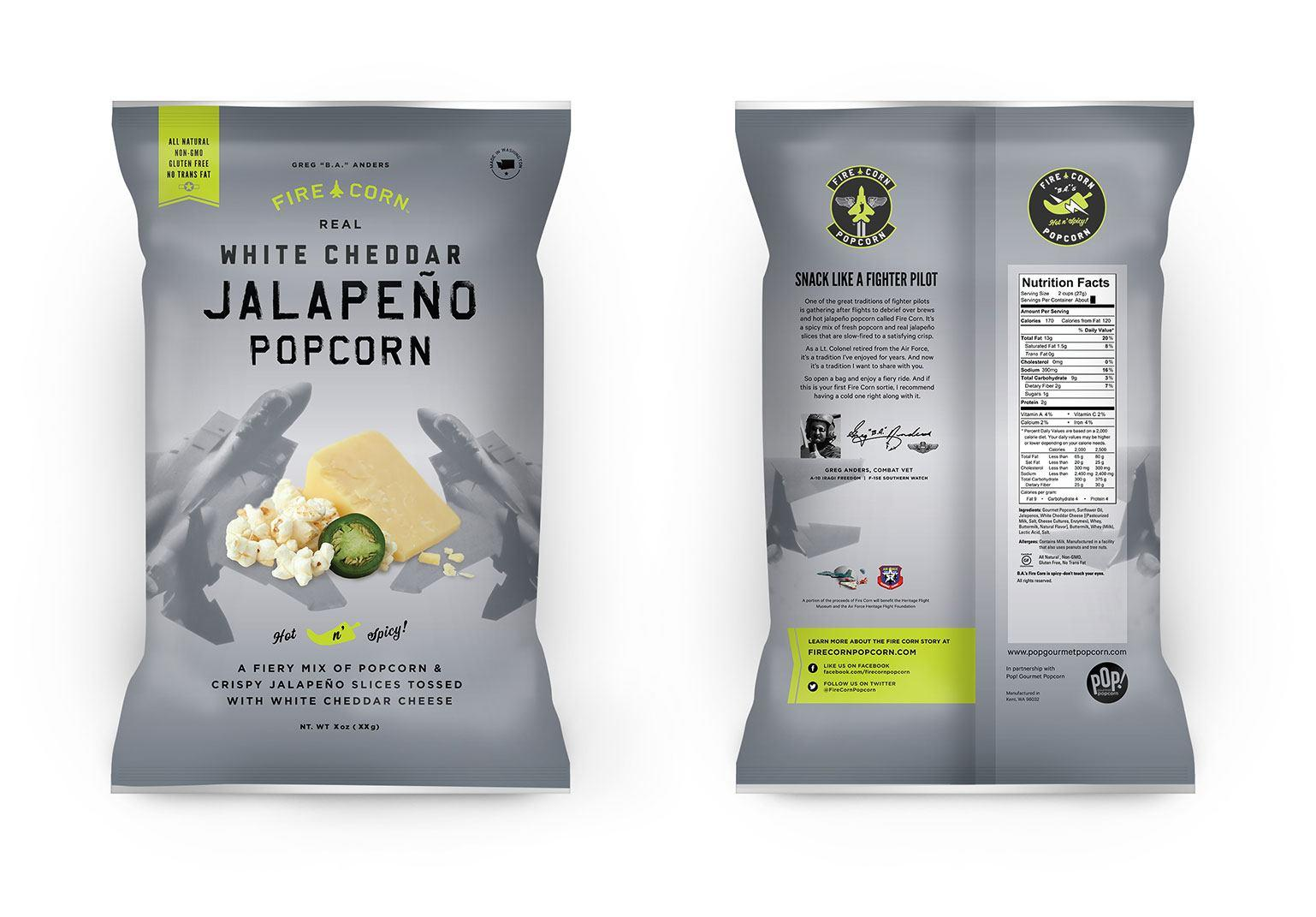 Bag of white cheddar popcorn, front and back of packaging, featuring images of fighter jets, cheese wedge, popcorn and jalepeno slices