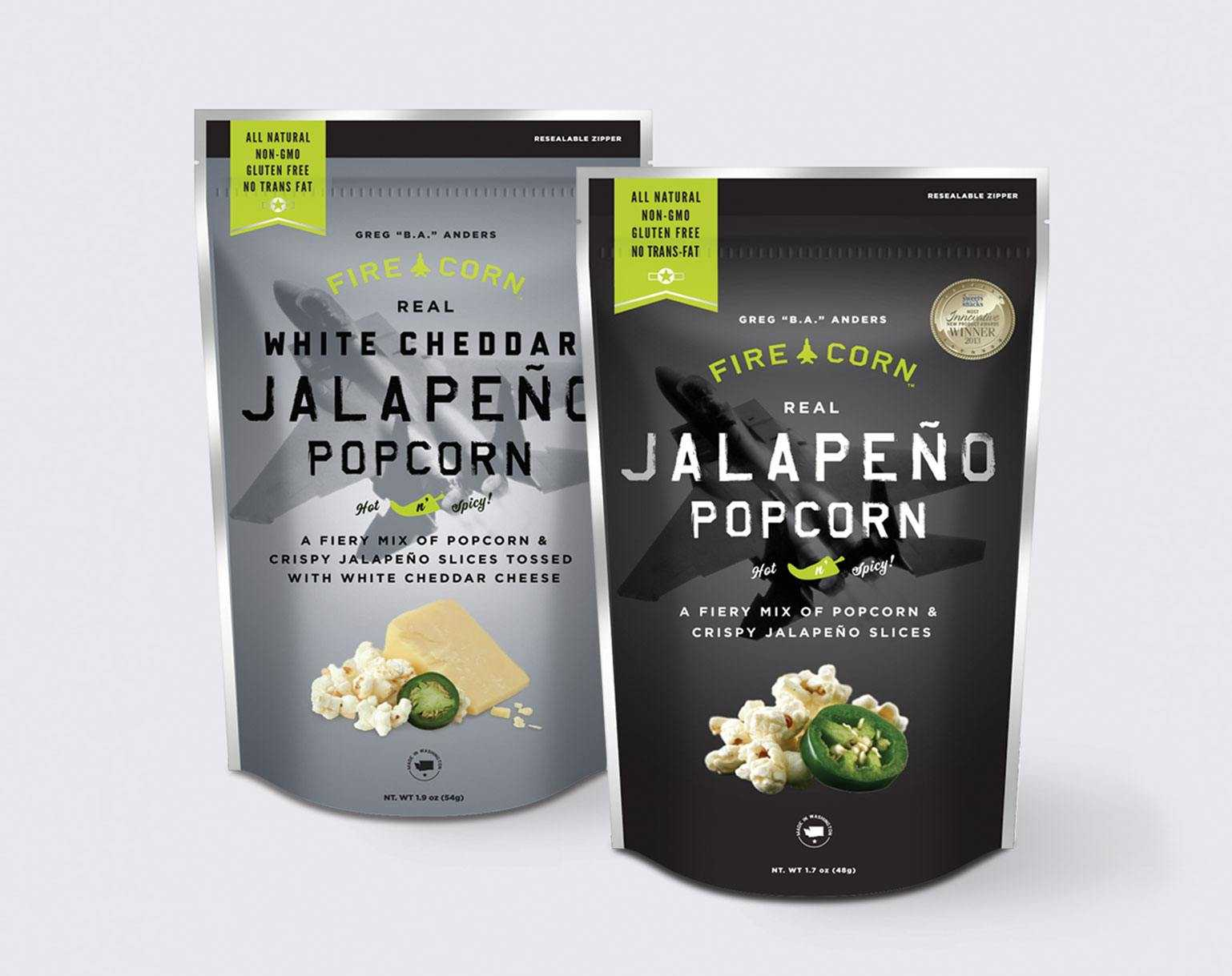 Grey and black bagged popcorn package design