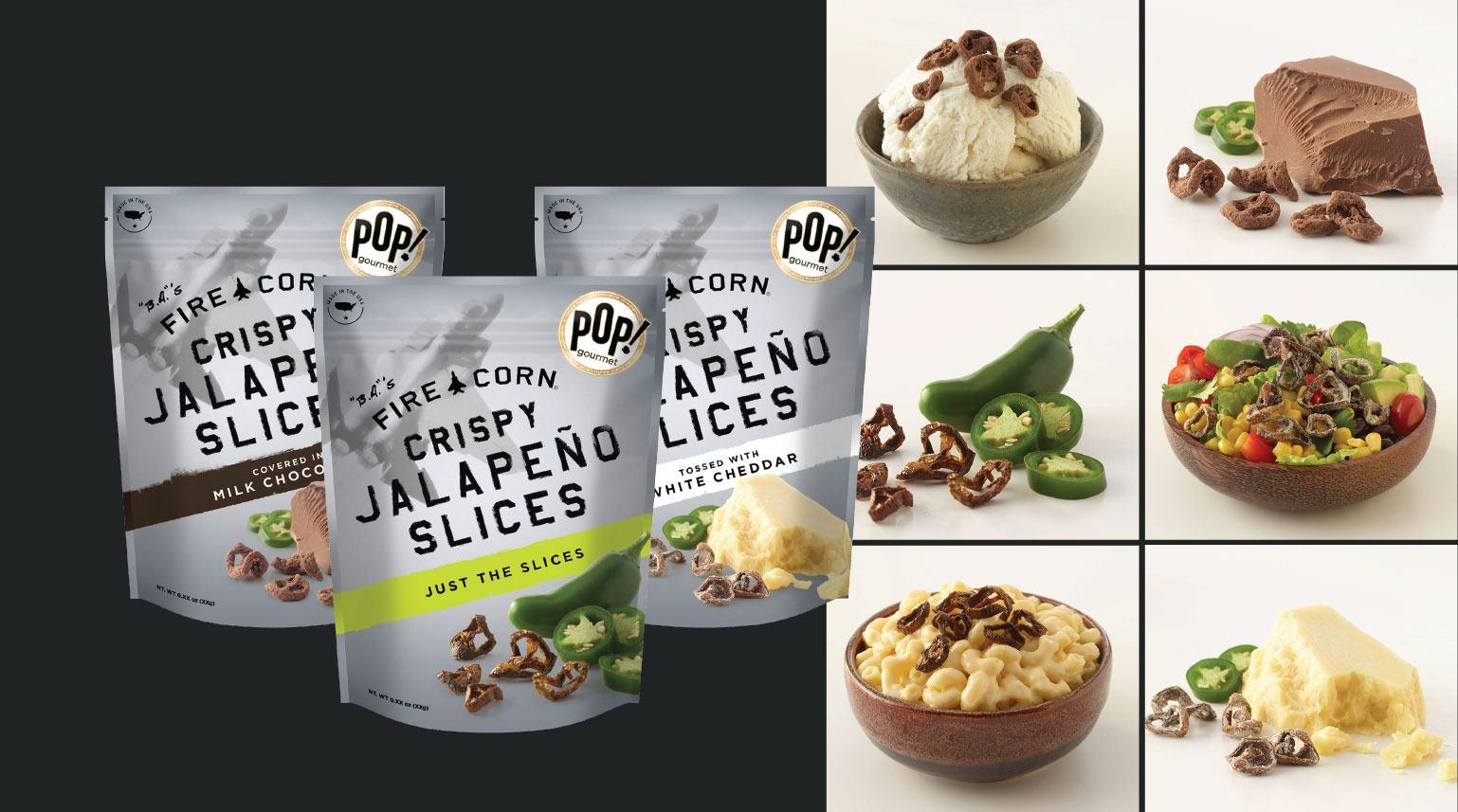 Three bags of jalapeno slices packages with images of food
