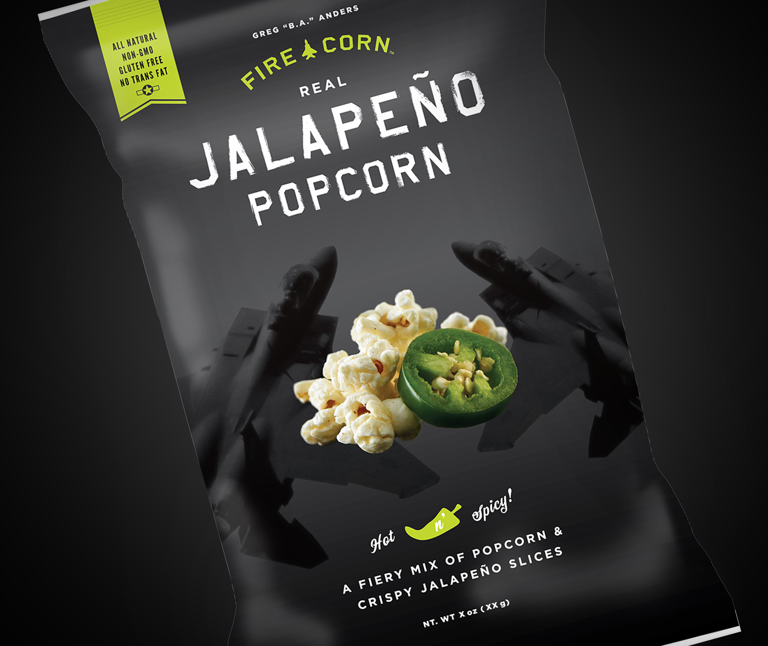 A black bag of popcorn with jets, popcorn, and jalapenos on the packaging design.
