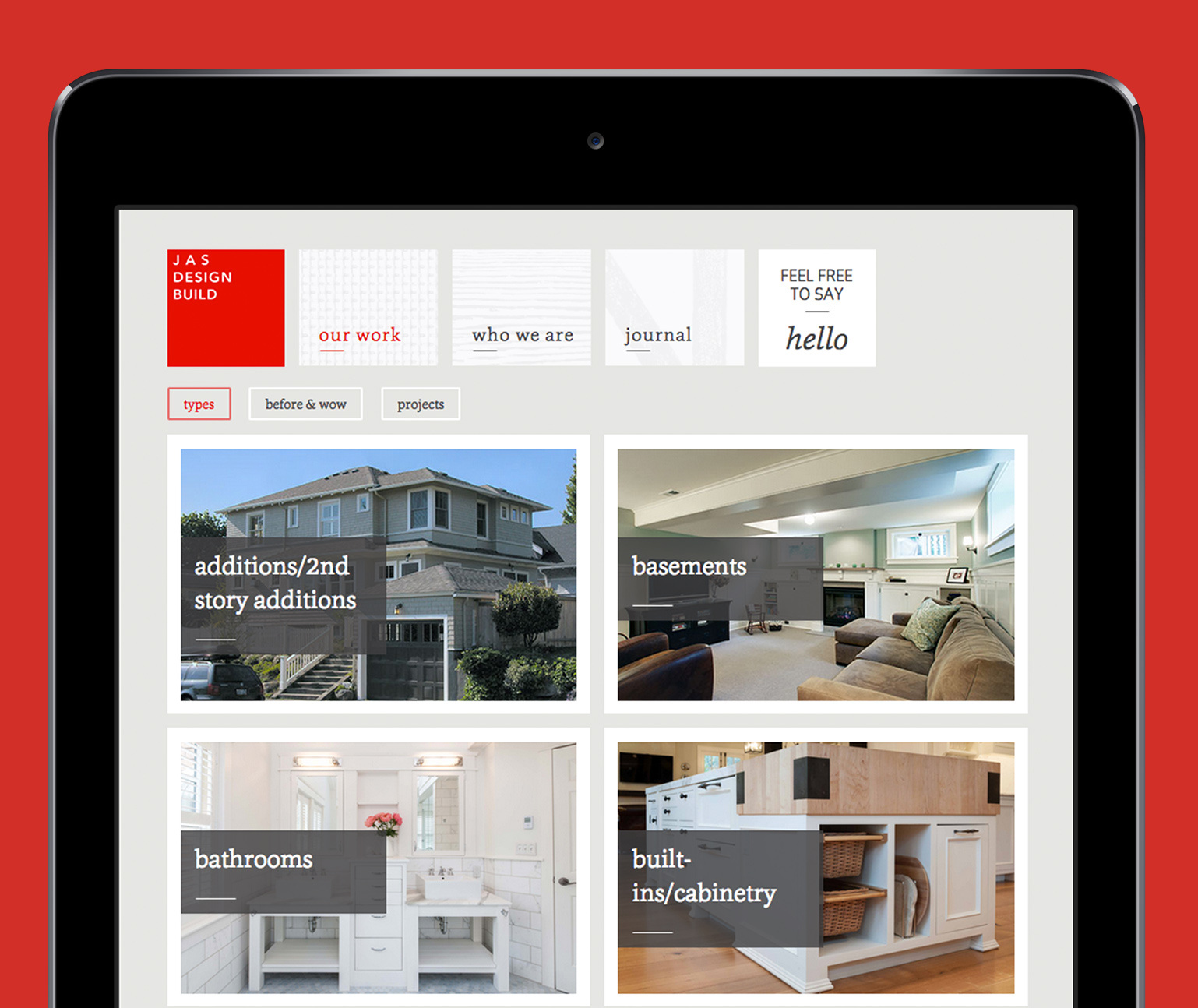 JAS Website shown in a tablet over a red background