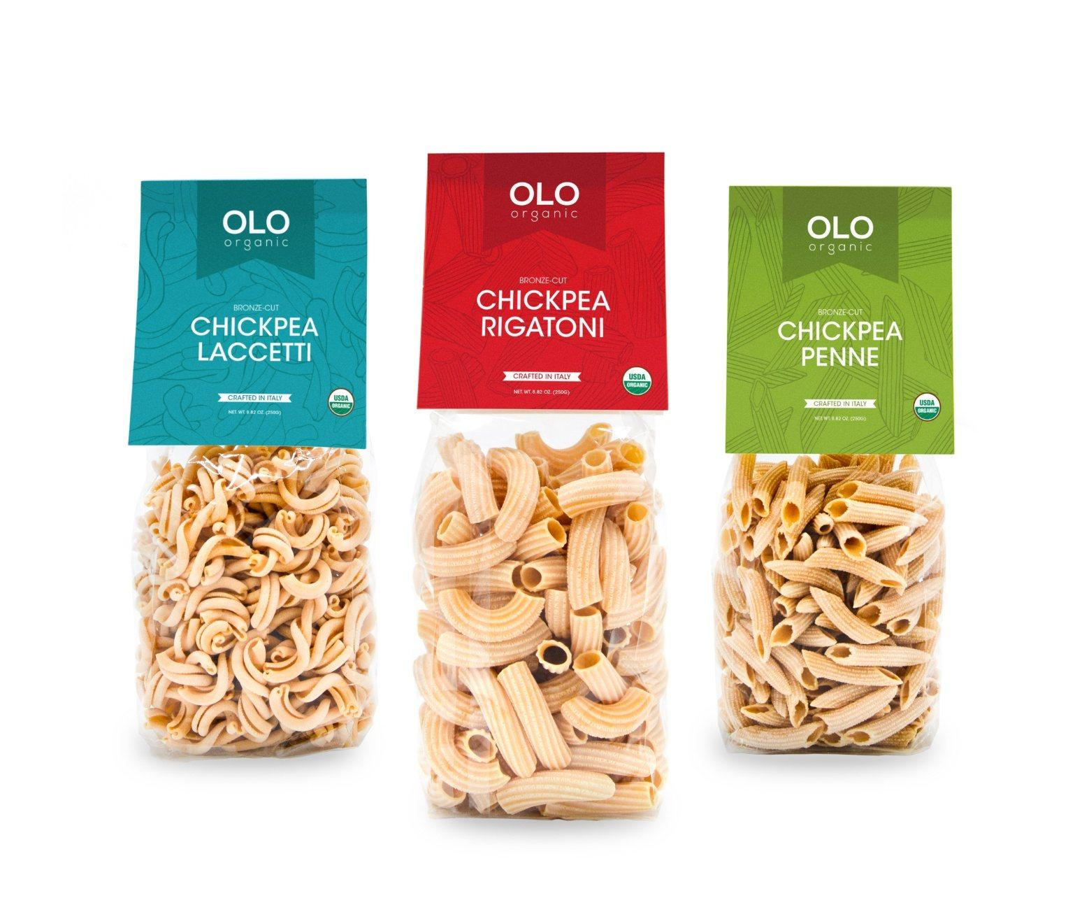 Three bags of pasta in clear bags with colorful labels