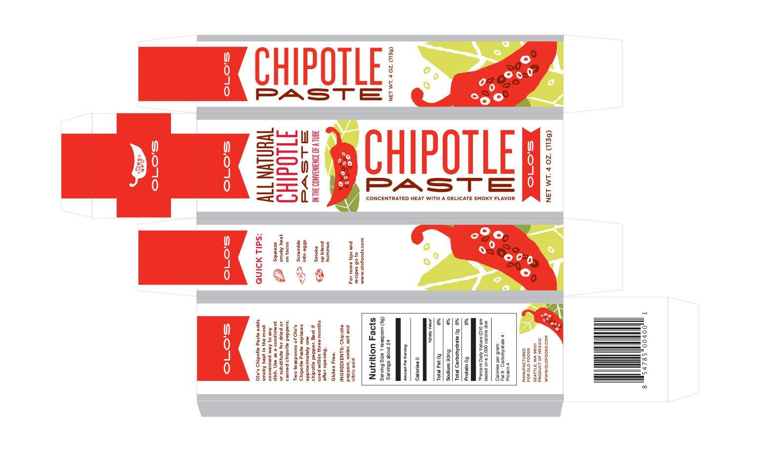Chipotle paste packaging box design, flat layout