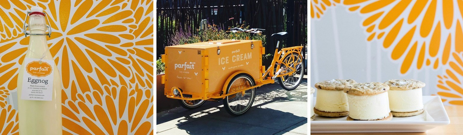 Ice cream delivery bike and orange illustrated flowers