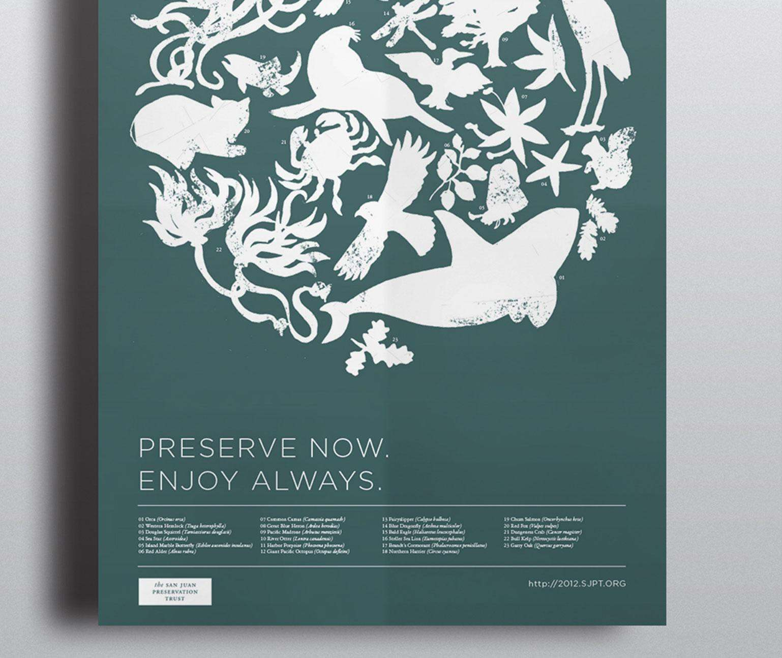 Poster with illustrations of sea animals
