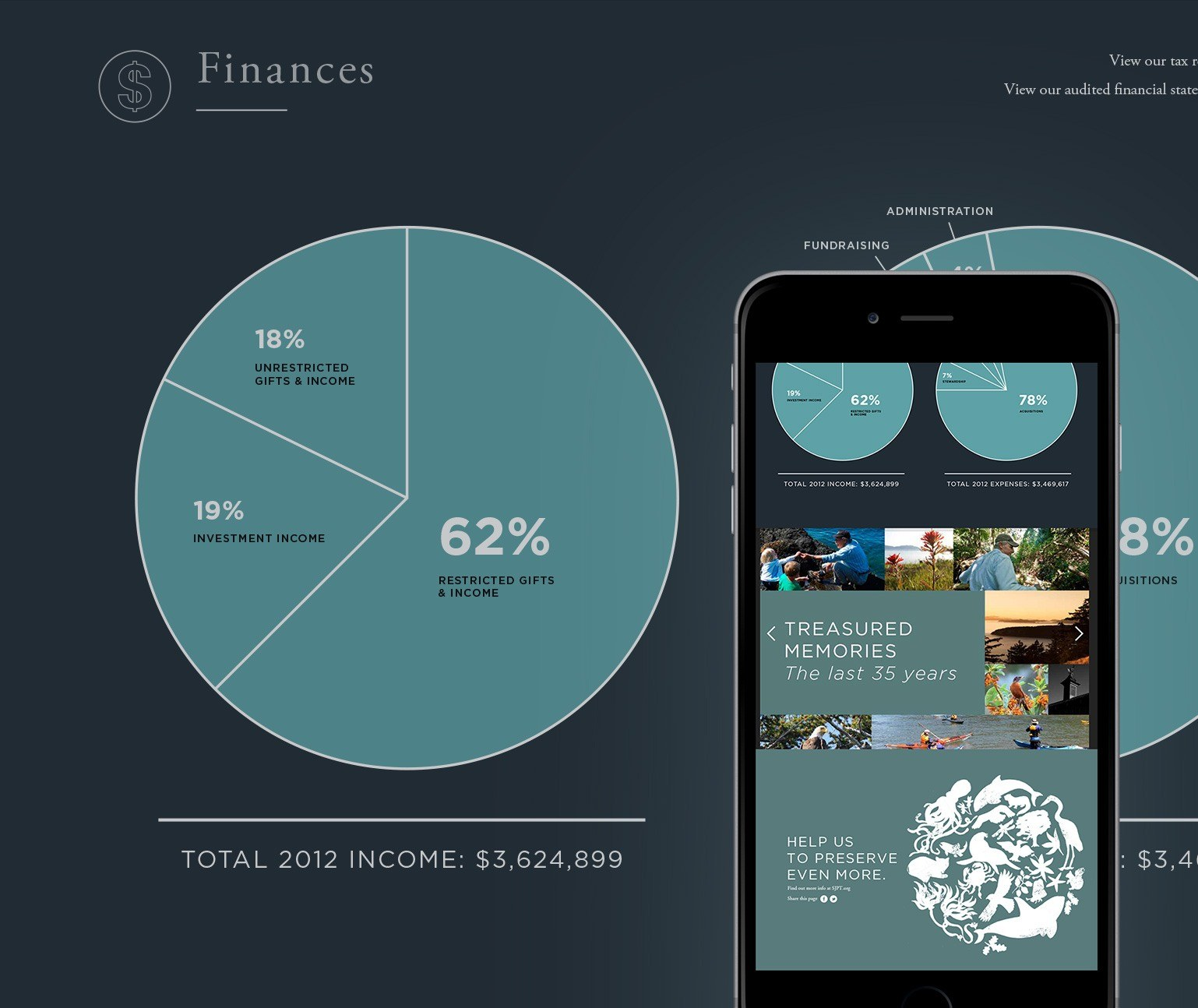 Pie chart and annual report website in a mobile phone