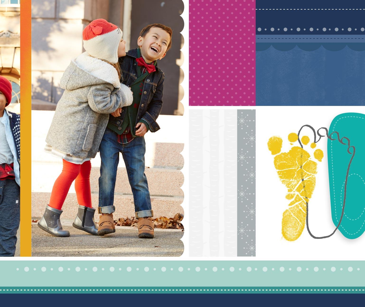 Two children laughing on a sidewalk, baby foot prints, custom photography and design