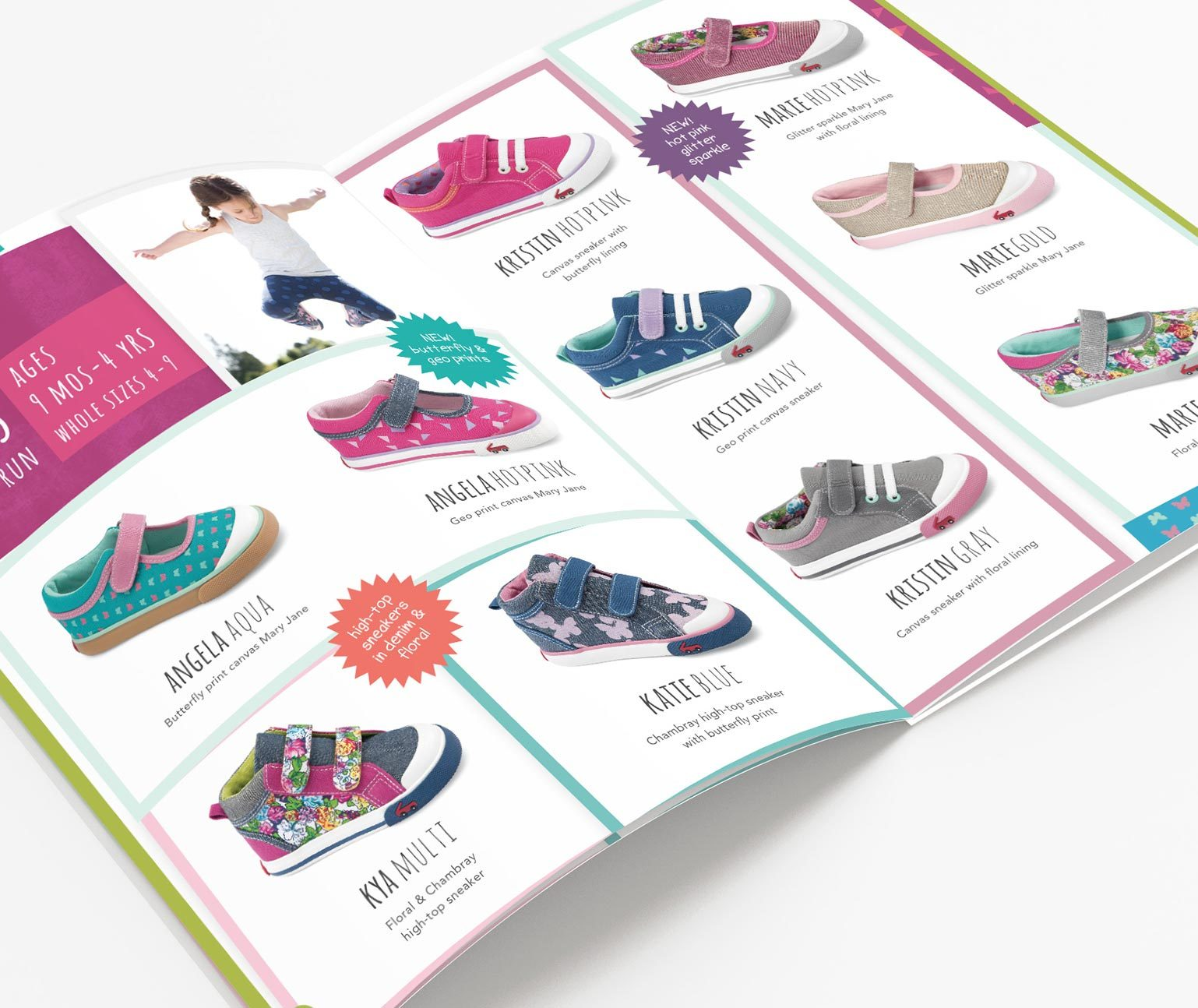 Catalog open spread showing children's shoes
