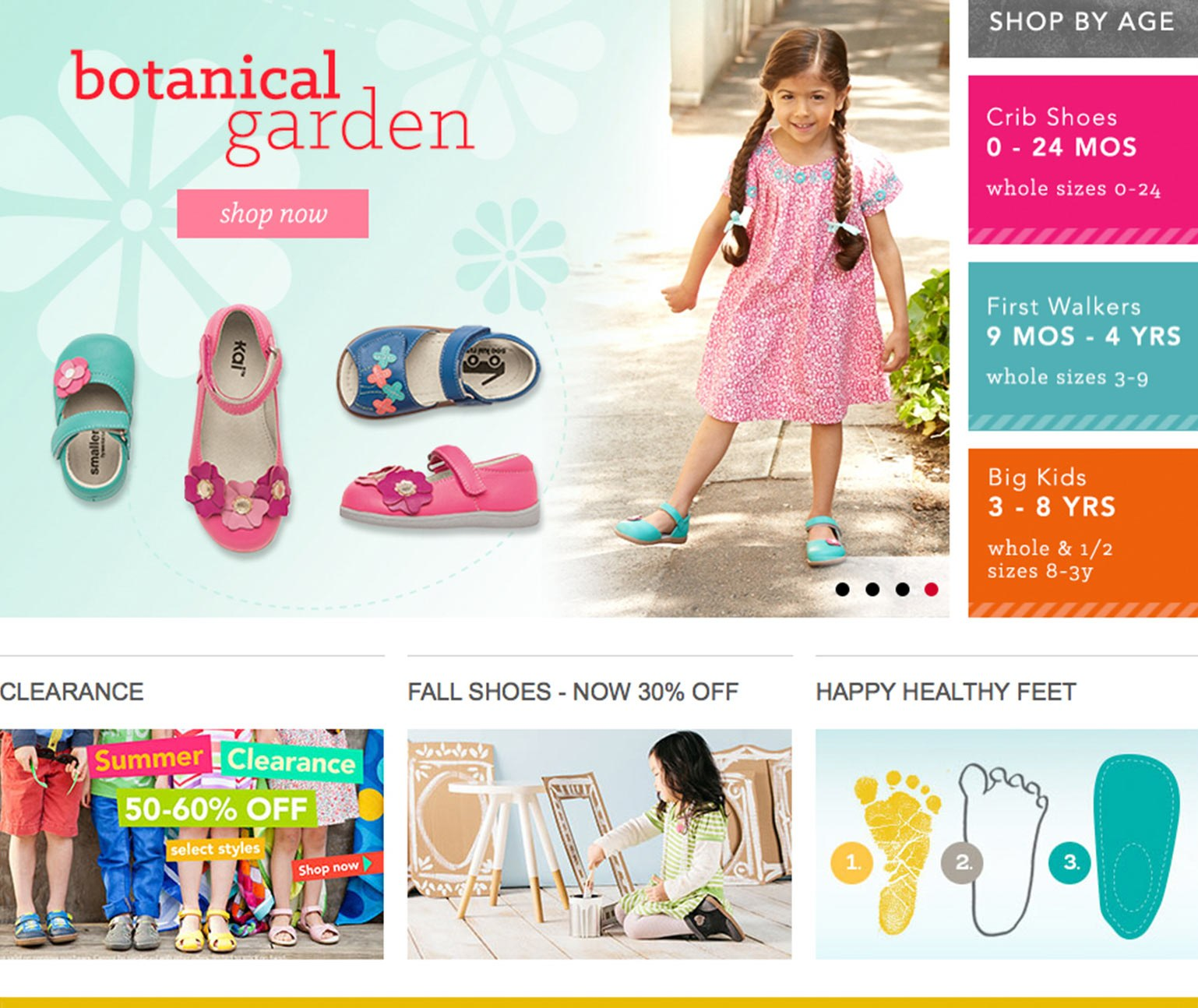 Young girl and children's shoes in gridded layout of ecommerce website