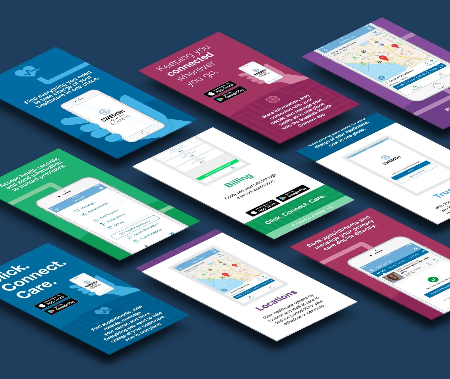 Illustration of promotional materials for the Swedish Health Connect App, laid out in an isometric tile grid.