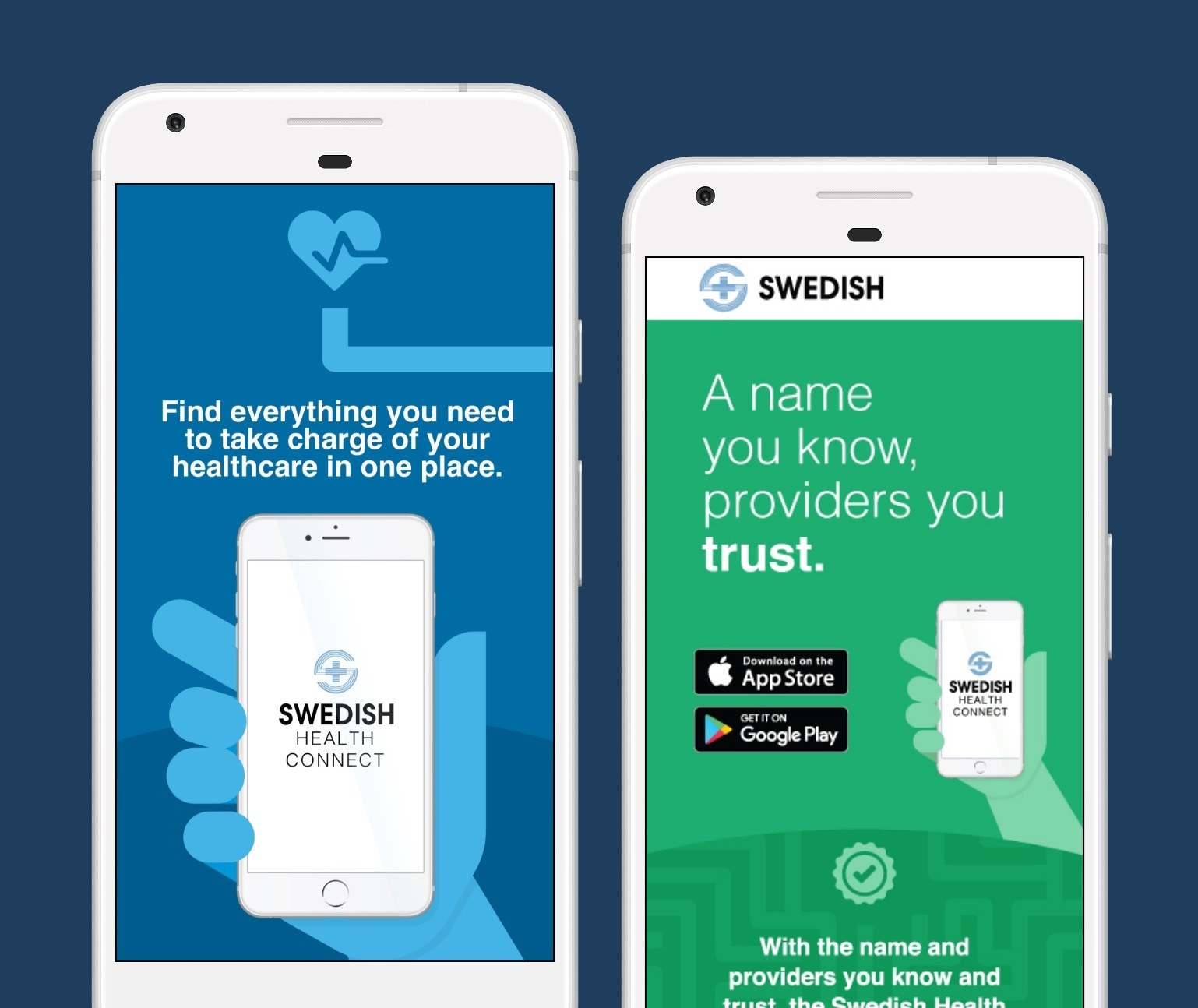 Illustration of two mobile phone screens showing advertisements to download and use the Swedish Health Connect App.