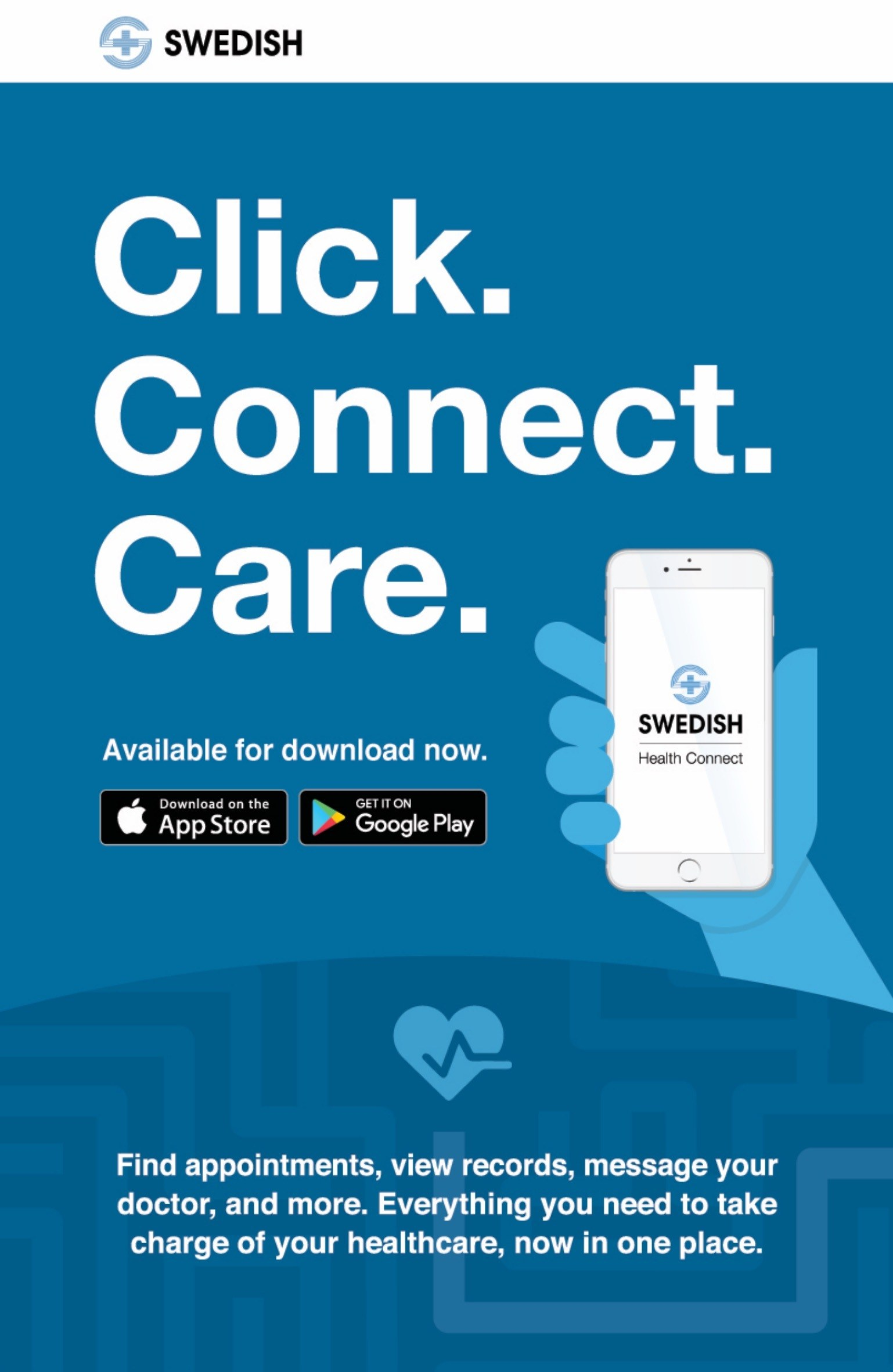 Illustrated promo to download the Swedish Health Connect App from the Apple App Store or Google Play. Click. Connect. Care.