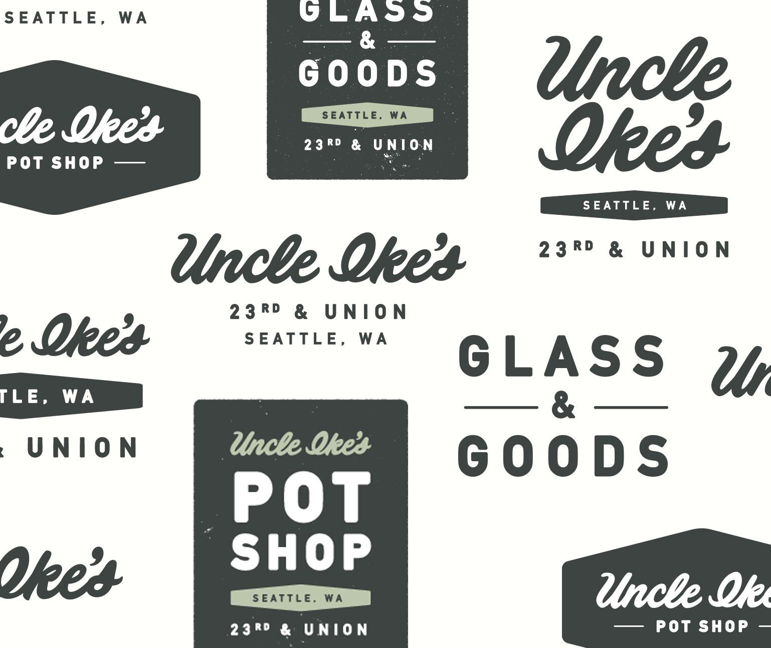Various Uncle Ike's logos and type treatments in a loose grid