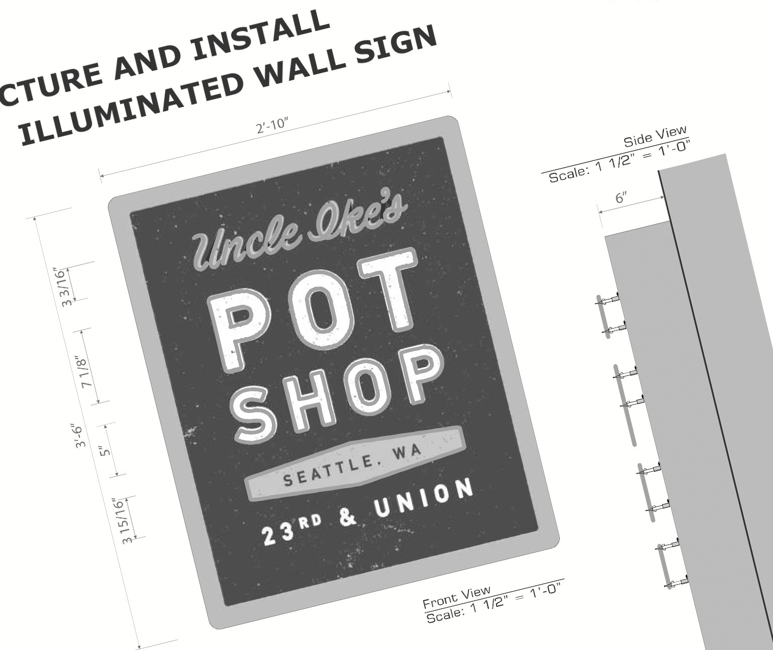 Technical drawing of Uncle Ike's exterior signage design