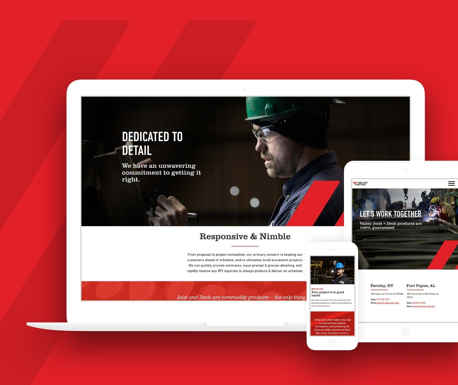 Valley Joist website shown on laptop, tablet and mobile phone on red background