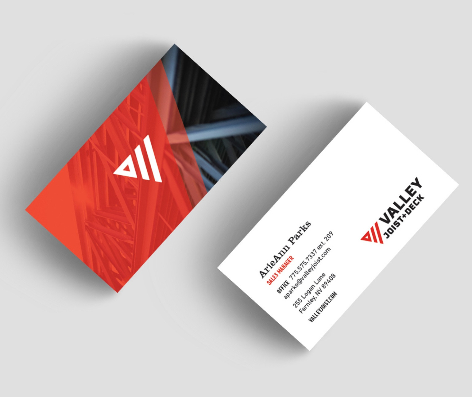 Valley Joist business card front and back on grey background